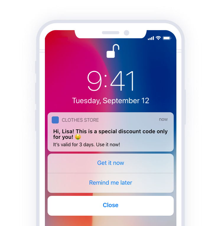 rich push notification with discount code
